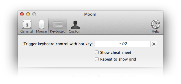 Moom's keyboard control settings